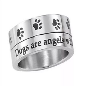 Jewelry - Dogs are Angels Spinner Ring Stainless Steel
